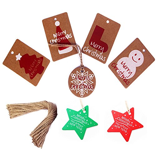 140Pack Christmas Gift Tags with Twine String Tie- 7 Designs for DIY Xmas Holiday Present Wrap Stamp