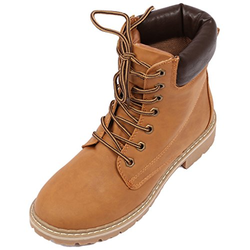 [Coshare Women's Fashion Ankle High Padded Cuff Lace Up Slip-Resistant Waterproof Combat Hiking Military Boots Outdoor Work Shoes (with Special Coshare Calendar Card)] (Brown Waterproof Boot)