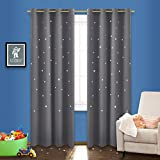 NICETOWN Stars Grommet Blackout Curtains - Triple Weave Microfiber Energy Saving Thermal Insulated Drapes for Patio (One Panel,52 Inch by 95 Inch,Grey)