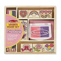 Conjunto de sellos de madera Melissa y Doug: Amistad - 9 sellos, 5 lápices de colores y un bloc de 2 colores