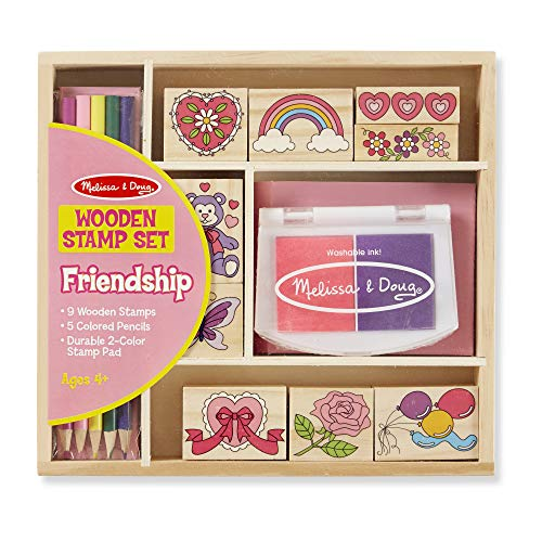 Melissa & Doug Wooden Stamp Set: Friendship - 9 Stamps, 5 Colored Pencils, and 2-Color Stamp Pad ()