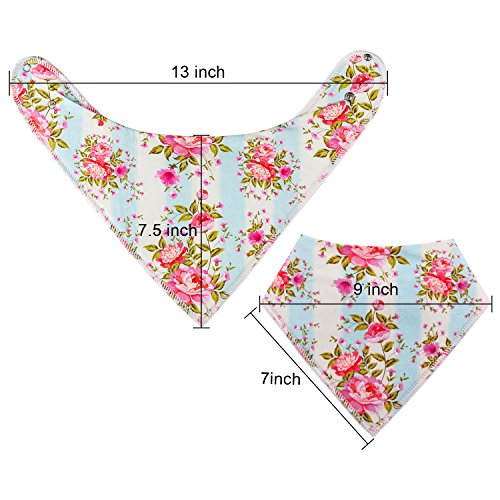 "10-Pack Baby Bandana Bibs Upsimples Baby Girl Bibs for Drooling and Teething, 100% Organic Cotton and Super Absorbent Hypoallergenic Bibs Baby Shower Gift - ""Blossom Set"" by upsimples (Image #8)'"