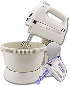 HLWAWA Stand Hand-Held Dual-Purpose Electric Mixer 5-Speed 350W with Stainless Steel Automatic Rotating Bowl Egg Beater,