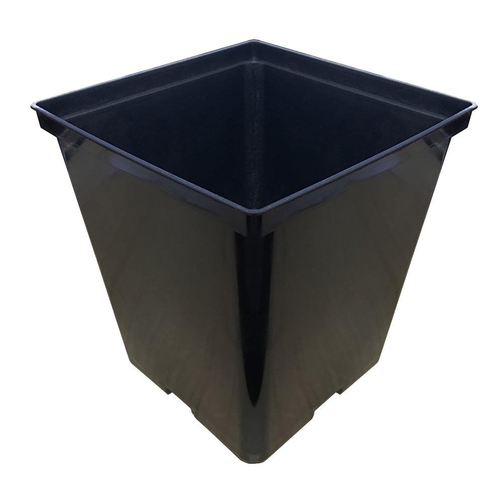 TopoGrow 1 Gallon 24-Packs Square Black Plastic Nursery Plant Pots/Flower Plastic Pots for Plant Growing