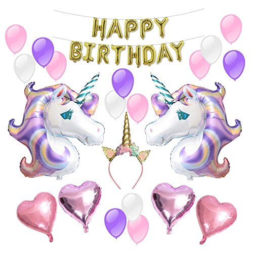 Foil Party Horns (Unicorn Balloons Birthday Party Supplies for Kids Birthday Decorations, Baby Shower Decorations)