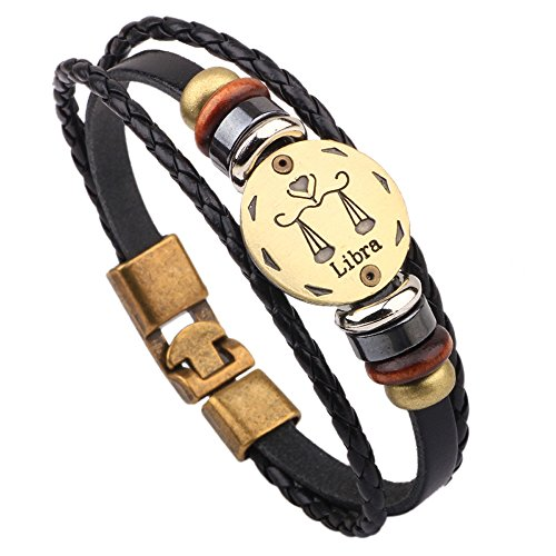 Winter's Secret Hand Braided Twelve Constellations Libra Black Leather Alloy Pull Clasp Wrap Bracelet Needle Refill Single