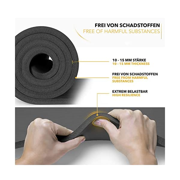 TRESKO Tapis d'exercice Fitness Tapis de Yoga Tapis de Pilates Tapis de Gymnastique, Dimensions 185 x 60 x 1,5 cm ou et 190 x 100 x 1,5 cm, sans Phtalates/en Mousse NBR/respecte la Peau accessoires de fitness [tag]