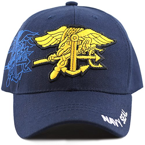 THE HAT DEPOT Navy Embroidered Military Baseball Cap Hat (Navy Seal)