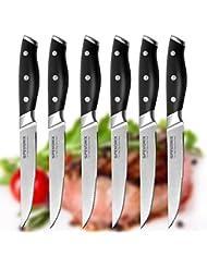 Steak Knives,Premium Steak Knife Set of 6 Stainless Steel- Professional Quality For Multipurpose Use Stainless Steel Serrated 5-inch Blade - Safe Streak Knifes.