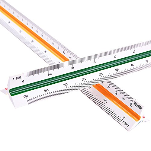 MyLifeUNIT Professional Plastic Engineering Triangular Scale Ruler (1:100, 1:200, 1:250, 1:300, 1:400, 1:500)