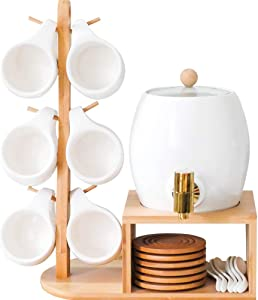 TINTON LIFE Beverage Dispenser Stand with Brass Spigot Ceramic Water Dispenser Stand with Ceramic Cup Set of 6 Wood Coasters for Drinks Beer Container for Party