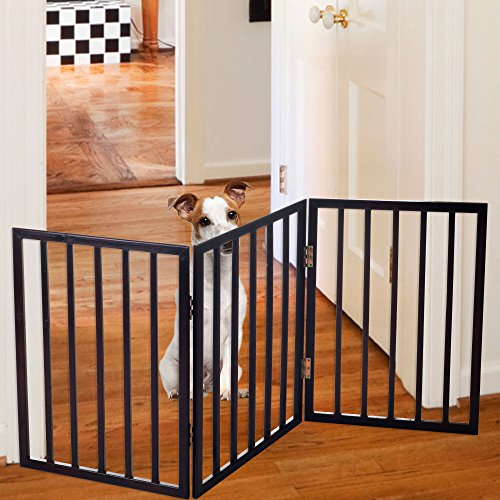 Foldable, Free-Standing Wooden Pet Gate- Light Weight, Indoor Barrier for Small Dogs / Cats by Petmaker- 24 Inch, Dark Brown, Step Over Doorway Fence (Pet Barrier)