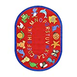 Joy Carpets Kid Essentials Early Childhood Oval ABC Animals Rug, Red, 5'4'' x 7'8''