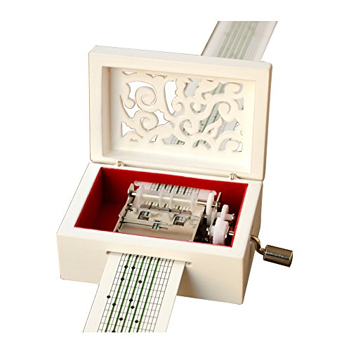 YouTang Vintage Carved Wood Mechanism Musical Box Handcrank Music Box Gift (15 Note-White)