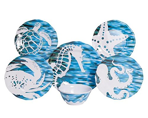 Galleyware Fantasea 18-Piece Melamine Dinnerware Set, Service for 6 (Non Skid Dinnerware)