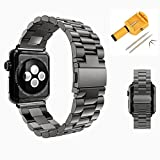Replacement For Apple Watch Band, iWatch Stainless Steel Metal Replacement Bands with Durable Folding Clasp + Watch Band Link Size Remover Adjuster 42mm (Black)