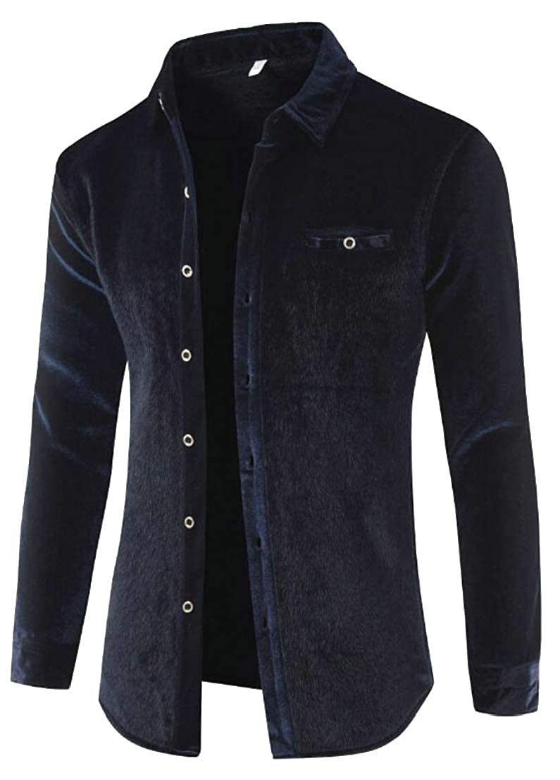 Generic Mens Thicken Warm Winter Thermal Long Sleeve Faux Fur Lined Button Down Dress Shirts