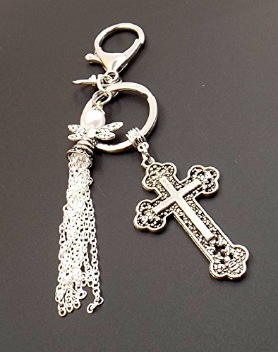 Silvertone Angel Tassel Cross Keychain Purse Bag Charm Car Accessory Fob Spiritual Religious Women (Gemstone Religious Cross)