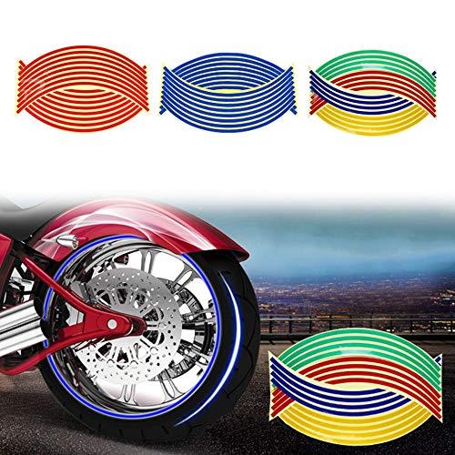ARSUTE Rueda de la Motocicleta de 18 Pulgadas Pegatinas Tiras Calcoman/ías Reflectantes Cinta Bicicleta Car Styling Extra/íble Calcoman/ía Pegatinas Pegar Rueda de Coche