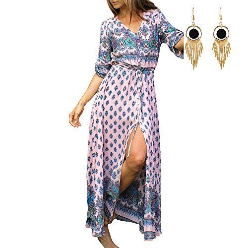 para Floral Lylafairy Noche Largo Ocasional Vestidos Boho 4 Playa Maxi vavq17PWw