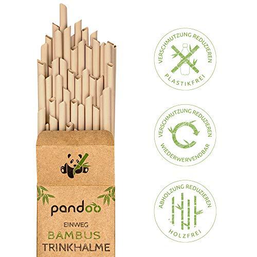 pandoo 50 Plastikfreie Einweg-Strohhalme Bambus und Pflanzenfaser   biologisch abbaubare Trinkhalme   Super Alternative…