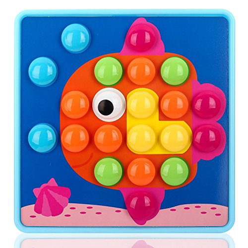 NextX Button Art Toy Color Matching Mosaic Pegboard Early Learning Educational Preschool Games for Kids' Motor Skills (Pink) by NextX (Image #6)