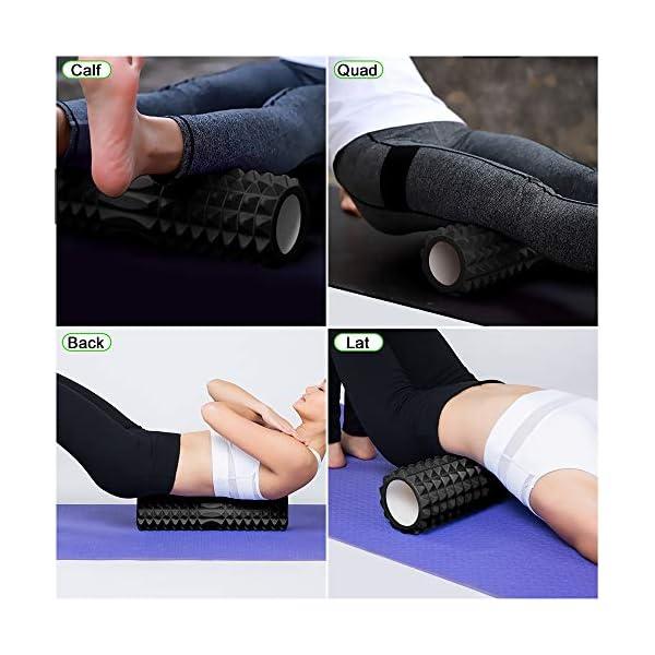Odoland Foam Roller Kit 5-in-1, Kit di Rullo in Schiuma incl. Roller Stick, Palline per Massaggio - Kit di Rullo per… 5 spesavip