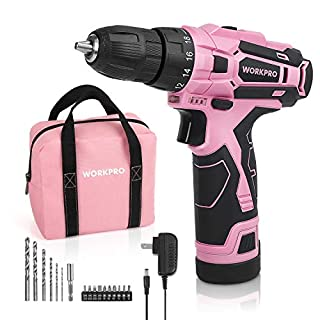 "WORKPRO Pink Cordless Drill Driver Set, 12V Electric Screwdriver Driver Tool Kit for Women, 3/8"" Keyless Chuck, Charger and Storage Bag Included - Pink Ribbon"