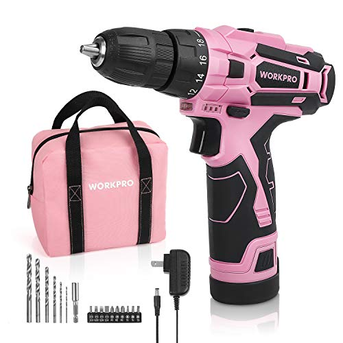 WORKPRO Pink Cordless Drill Driver Set, 12V Electric Screwdriver Driver Tool Kit for Women, 3/8″ Keyless Chuck, Charger and Storage Bag Included – Pink Ribbon