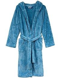 TowelSelections Big Boys' Robe, Kids Plush Hooded Fleece Bathrobe Size 10 Sky Blue