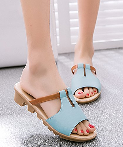 Aisun Donna Antiscivolo Casual Open Toe Dress Slip On Zeppa Sandali Con Zeppa Tacco Basso Blu