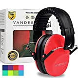Vanderfields Earmuffs for Kids - Hearing Protection Muffs For Children Small Adults Women - Foldable Design Ear Defenders Protector with Adjustable Padded Headband for Optimal Noise Reduction - (Red)