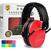Vanderfields Earmuffs for Kids – Hearing Protection Muffs For Children Small Adults Women – Foldable Design Ear Defenders Protector with Adjustable Padded Headband for Optimal Noise Reduction - (Red)