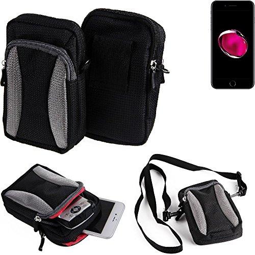Gürteltasche, Holster / Umhängetasche für Apple iPhone 7 Plus, schwarz-grau + Extrafach mit Platz für Powerbank, Festplatte etc.   Case travelbag Brustbeutel Brusttasche- K-S-Trade(TM) (Wir zahlen Ste