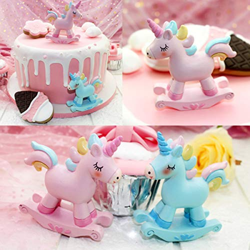 STEAM 2 Pack Unicorn Toys Figurines Playset, Mini Figure Collection Playset, Cupcake Topper, Cake Decorations