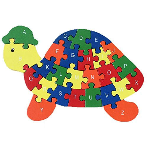 HIPGCC For_beauty Turtle Puzzle Wooden Letters and Numbers Jigsaw Puzzles ,Family Game for Kids ,Interactive Educational Toys for Toddler Age 3 4 5 Years Old and Up Baby Preschool Toddler Boys Girls