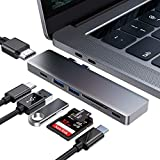 USB C Hub for Macbook Pro, USB Type C to HDMI Hub, USB C to HDMI, 2 USB 3.0 Ports, TF/SD Card Reader, USB C Power Delivery, 7-in-2 Aluminum USB C Adapter for MacBook Pro 13' and 15' 2016/2017/2018