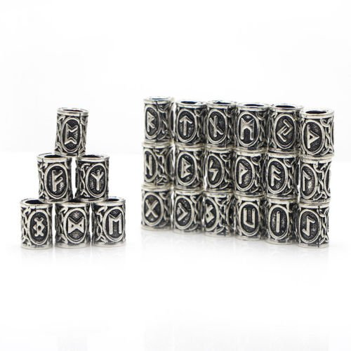24 Pcs Viking Norse Runes Hair Beard Beads Antique Silver DIY Bracelet Jewelry Scandinavian Pendants Paracord by Mello Crafts