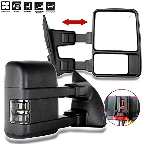 (ECCPP Towing Mirrors for 2008-2016 Ford F250 F350 F450 F550 Super Duty Side View Mirror Pair Set Power Heated w/LED Smoke Cover Turn Signal Pickup)