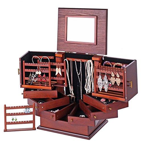 ROWLING Schmuckkasten Holz Schmuckkästchen Schmuckkoffer Groß 7 Schubladen dunkelbraun MG018