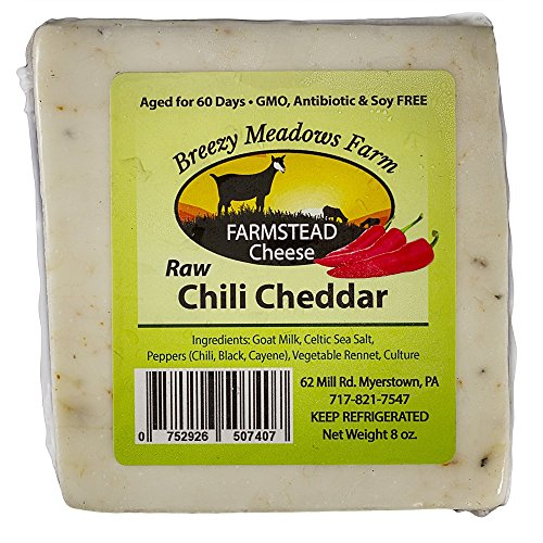 (BREEZY MEADOWS FARM RAW CHILI CHEDDAR (GOAT MILK ONLY) 8 OZ)