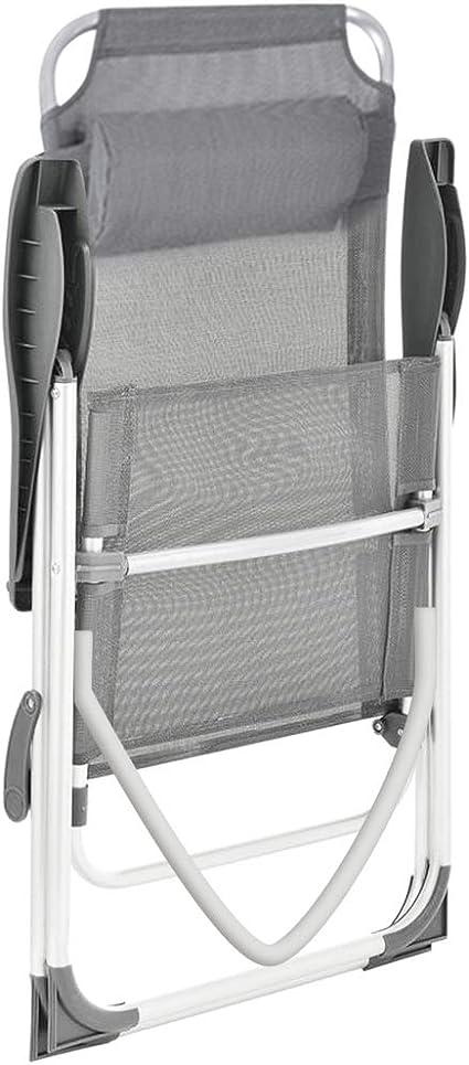 BAKAJI Set 2 Sedie Pieghevoli Struttura in Alluminio Schienale Reclinabile con Braccioli e Poggiatesta Imbottito Rivestimento Texilene per Campeggio Spiaggia Giardino Colore Grigio