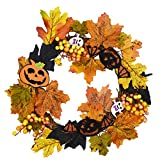 Artificial Pumpkin and Maple Leaf Wreath Autumn Maple Leaf Wreath with Berry and Lights for Halloween and Thanksgiving Home Indoor or Outdoor Arrangement Decoration