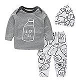 Cotton Baby Boy Clothes Top + Trouser + Hat 3pcs Newborn Infant Clothing Sets Toddler Children Autumn Outfits (Grey, 18-24 Months) …
