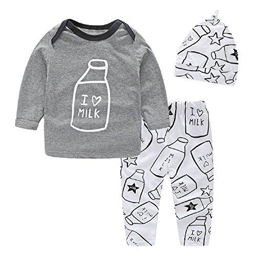 Yilaku Eyelash Cute Newborn Baby Girl Clothes Top + Pants + Headband 3pcs Toddler Clothing Sets (Gray, 3-6 ()
