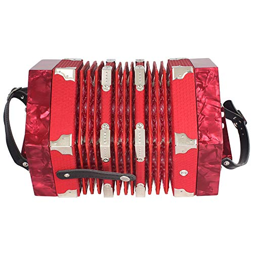 SODIAL Concertina Accordion 20-Button 40-Reed Anglo Style With Carrying Bag And Adjustable Hand Strap (Red)