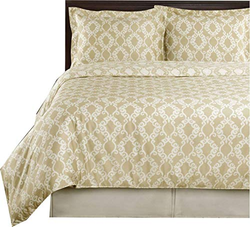 Beige and Ivory Sierra 3pc Full / Queen Comforter Cover (Duvet-Cover-Set) 100 % Cotton 300 TC