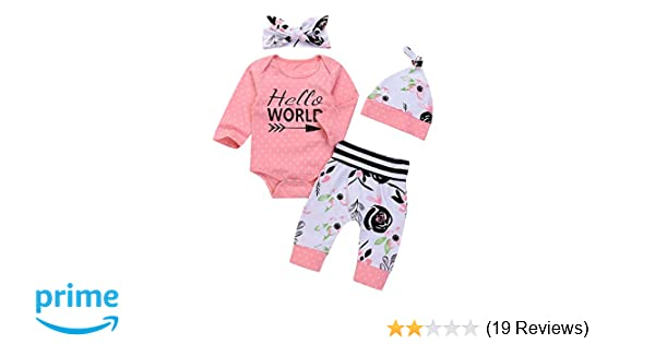 1e8478a9d Amazon.com  OUTGLE Newborn Baby Girl Pink Polka Dot Romper + Trouser ...