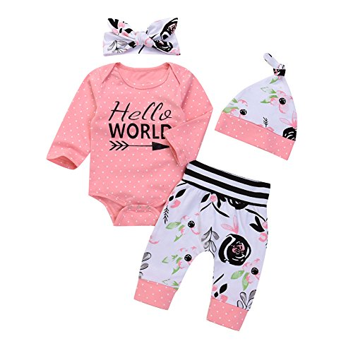 OUTGLE Newborn Baby Girl Pink Polka Dot Romper + Trouser + Hat + Headband Clothing Set Winter ()