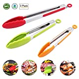 Kitchen Tongs Stainless Steel Silicone Tongs 3 Pieces 7 9 12 Inches Kitchen Restaurant Outdoor Barbecue Tongs (Red, Green, Orange)